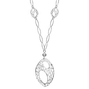 Image of Collier argent forme Y pendentif goutte ovale diamantée 43cm