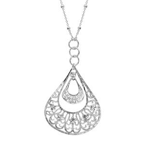 Image of Collier argent chaîne boules gros pendentif goutte diamantée 42cm