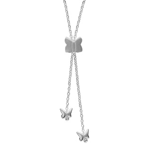 Image of Collier argent forme Y papillons 38+4cm