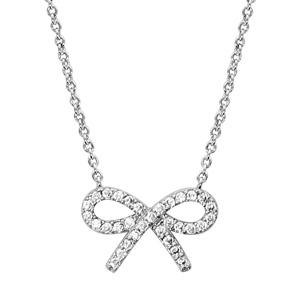 1001 Bijoux - Collier argent rhodié motif noeud strass blancs 40+4cm pas cher