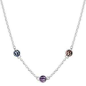 1001 Bijoux - Collier argent rhodié 3 boules diamantés couleurs et Ruthénium 42cm pas cher