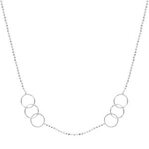 1001 Bijoux - Collier argent chaîne boules facettes 2 ensembles de 3 cercles 42cm pas cher