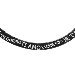 Image of Collier argent maille plate noire inscription Je t'aime multi-langues 45cm
