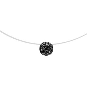 Image of Collier argent rhodié pastille oxydes noirs sur fil nylon 41cm