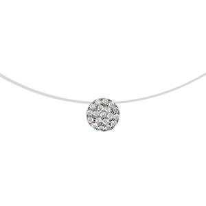 1001 Bijoux - Collier argent rhodié pastille oxydes blancs sur fil nylon 41cm pas cher