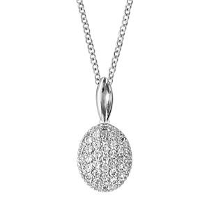 Image of Collier argent rhodié forme ovale oxydes blancs sertis 40+4cm
