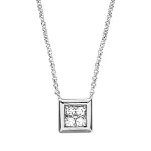 Image of Collier argent rhodié carrée oxydes blancs sertis 40+4cm