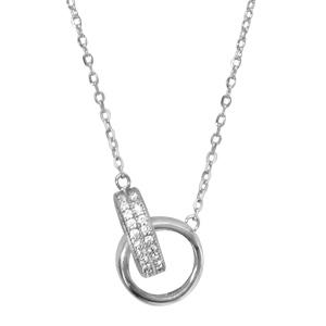 Image of Collier argent rhodié 2 anneaux oxydes blancs sertis 40+4cm