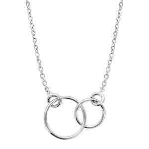 Image of Collier argent rhodié motif double cercle 40+5cm