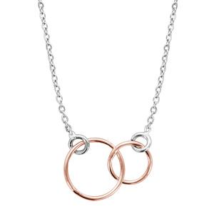 1001 Bijoux - Collier argent rhodié motif double cercle dorure rose 40+5cm pas cher