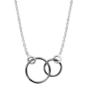 1001 Bijoux - Collier argent rhodié motif double cercle noir 40+5cm pas cher