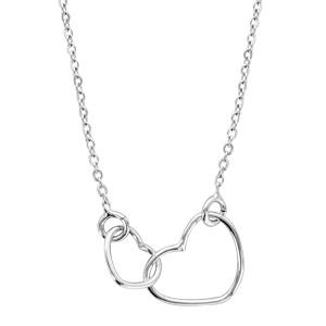 1001 Bijoux - Collier argent rhodié motif double coeurs 40+5cm pas cher