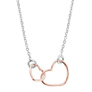 Image of Collier argent rhodié motif double coeurs dorure rose 40+5cm