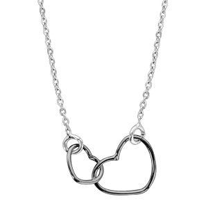 1001 Bijoux - Collier argent rhodié motif double coeurs noir 40+5cm pas cher