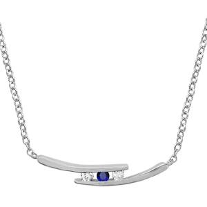 1001 Bijoux - Collier argent rhodié 2 branches 2 pierres blanches et 1 centrale bleue 44,5+3,5cm pas cher