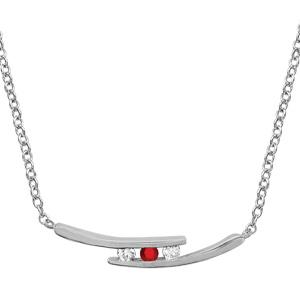 1001 Bijoux - Collier argent rhodié 2 branches 2 pierres blanches et 1 centrale rouge 44,5+3,5cm pas cher