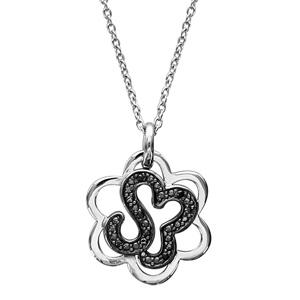 1001 Bijoux - Collier argent rhodié pendentif fleur oxydes noirs sertis 42+3cm pas cher