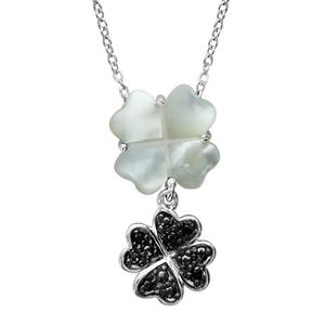 Image of Collier argent rhodié pendentif double fleur nacre véritable et oxydes noirs sertis 42+3cm