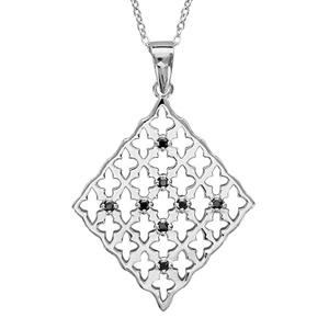 1001 Bijoux - Collier argent rhodié pendentif losange oxydes noirs sertis 42+3cm pas cher
