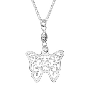 Image of Collier argent 1 papillon filigrane 40+2,5cm