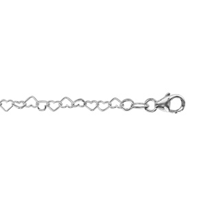 Image of Collier argent multi-coeurs 35+2cm