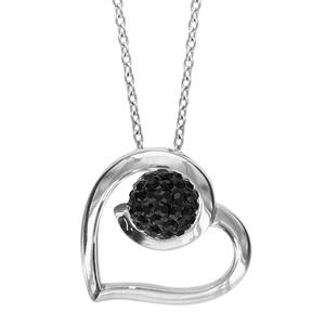 Image of Collier argent rhodié coeur sphère résine strass noirs 42+3cm