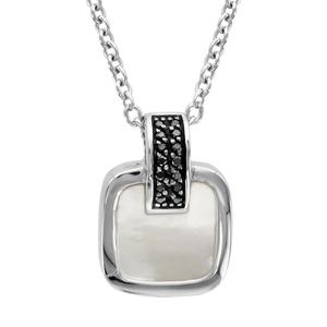 1001 Bijoux - Collier argent rhodié pendentif carré nacre blanche et oxydes noirs sertis 42+3cm pas cher