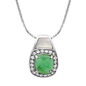 Image of Collier argent rhodié pendentif carré pierre verte contour oxydes blancs sertis et nacre blanche 42+3cm