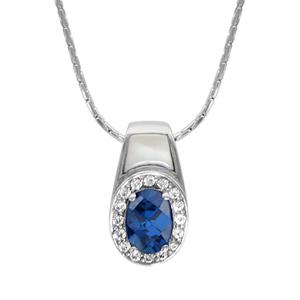 Image of Collier argent rhodié pendentif pierre ovale bleu contour oxydes blancs sertis et nacre blanche 42+3cm