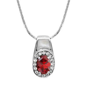 Image of Collier argent rhodié pendentif pierre ovale rouge contour oxydes blancs sertis et nacre blanche 42+3cm