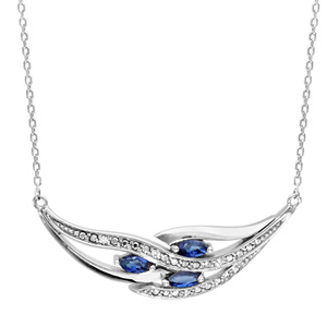 1001 Bijoux - Collier argent rhodié 3 navettes pierres bleu et oxydes blancs sertis 42+3cm pas cher