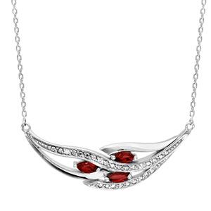 Image of Collier argent rhodié 3 navettes pierres rouge et oxydes blancs sertis 42+3cm