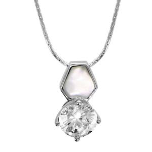 1001 Bijoux - Collier argent rhodié pendentif oxyde serti blanc et nacre blanche 42+3cm pas cher