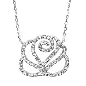 1001 Bijoux - Collier argent rhodié forme fleur de camélia oxydes blancs sertis 39+4cm réglable pas cher