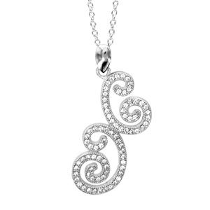 Image of Collier argent rhodié forme arabesque oxydes blancs sertis 39+4cm réglable