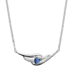 Image of Collier argent rhodié pierre bleue 43+2cm