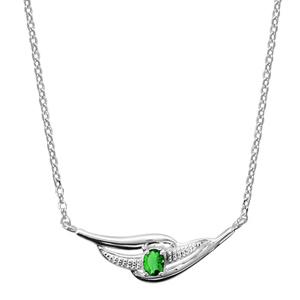 Image of Collier argent rhodié pendante pierre verte 43+2cm