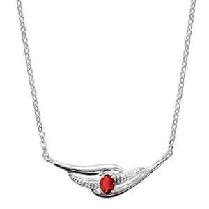 Image of Collier argent rhodié pierre rouge 43+2cm