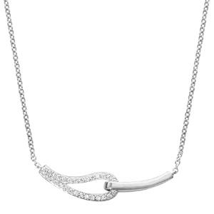 1001 Bijoux - Collier argent rhodié double anneaux forme goutte oxydes blancs sertis 40+4cm pas cher