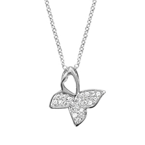 1001 Bijoux - Collier argent rhodié pendentif papillon oxydes blancs sertis 40+4cm pas cher