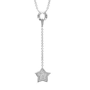 Image of Collier argent rhodié étoile oxydes blancs sertis 40+4cm