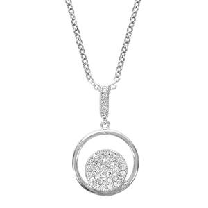 1001 Bijoux - Collier argent rhodié pendentif rond avec pastille pave oxydes blancs sertis 40+4cm pas cher