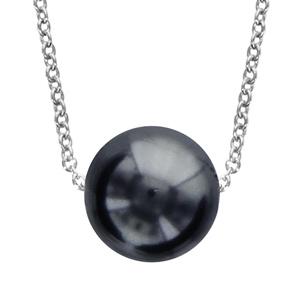 Image of Collier argent rhodié perle grise 40+4cm