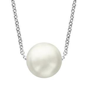 Image of Collier argent rhodié perle blanche 40+4cm