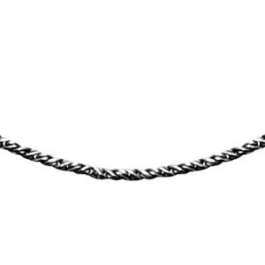 Image of Collier argent rhodié fine corde traitement noir 42cm