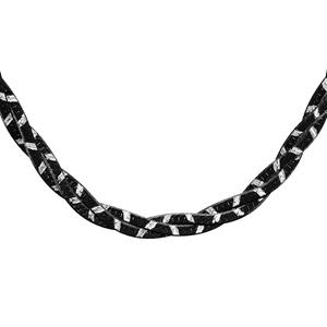 Image of Collier argent rhodié tresse traitement noir 42cm