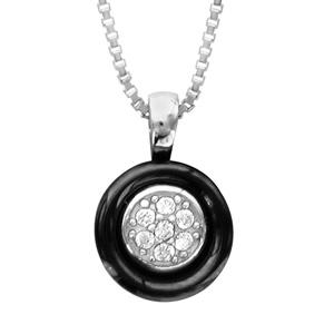 Image of Collier argent rhodié cercle céramique noir oxydes blancs sertis 42+3cm