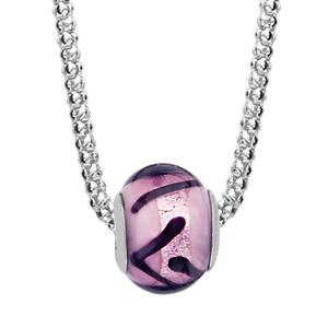 1001 Bijoux - Collier argent rhodié boule verre de murano violet avec reflet maille pop corn 42+3cm pas cher