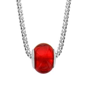 1001 Bijoux - Collier argent rhodié boule verre de murano rouge maille pop corn 42+3cm pas cher
