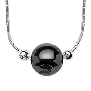1001 Bijoux - Collier argent rhodié avec boule céramique noire 42cm + 3 cm pas cher